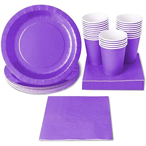 Juvale Disposable Dinnerware Set (Serves 24) - Includes Paper Plates, Napkins, Paper Cups - Environmentally Friendly Biodegradable Paper- Purple