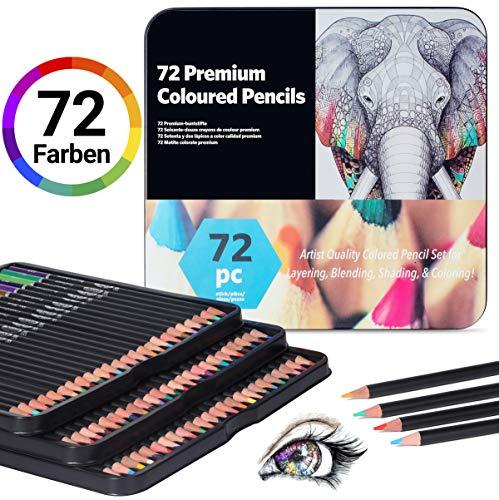 Buntstifte für Erwachsene Malstifte Zeichnen Stifte - APOGO 72 Farben Profi Buntstifte Set Farbstifte für Malbuch Erwachsene Malbücher Kinder, Künstler Ölbasiert Bundstifteset zum Malen, Ausmalen