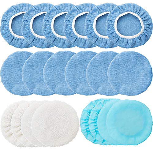 20 Pieces 5-6 Inches Car Polisher Pad Bonnet Microfiber Max Baxer Bonnet Polishing Bonnet Buffing Pad Cover