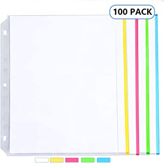 [Heavy Weight] Sooez Clear Sheet Protectors, Color Coded Edges Page Protectors for 3 Ring Binder, Clear Plastic Sleeves for Binders, Fast Loading Paper Protector Acid Free Letter Size, 100 Pack