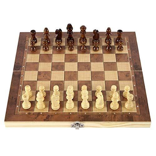 MAZ Schachspiel Brett Für Kinder Erwachsene 3 In 1 Faltbare Hölzerne Schachbrett Set Reisespiele Schach Backgammon Checkers Spielzeugschessungsmittel Unterhaltung Kinder Pädagogisches Spielzeug,G3866