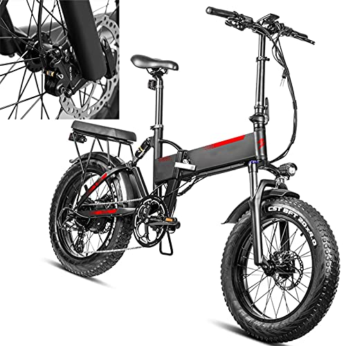 Bicicleta eléctrica Velocidad máxima de conducción 45 km/h Bikes electrica Plegable Bici Plegable Iones de Litio 13.6AH Freno Frenos de Disco mecánicos, Negro