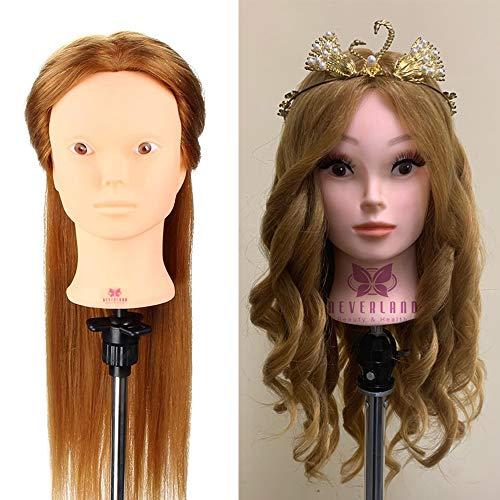 Tête À Coiffer Professionnelle Neverland Têtes d'exercice 80% Vrais Cheveux coiffure Artificiel Coiffure Mannequin pour le Salon Coiffeur Poupée avec Support #27