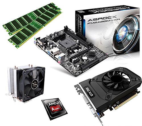One PC Aufrüstkit | AMD A-Series A10-6800K, 4 x 4.10GHz | Richland | montiertes Aufrüstset | Mainboard: ASRock FM2A88M-HD+ | 16 GB RAM (2 x 8192 MB DDR3 Speicher 1600 MHz) | CPU Mainboard Bundle | Grafik: 2 GB NVIDIA GeForce GTX 1050 (HDMI, DVI, DP)