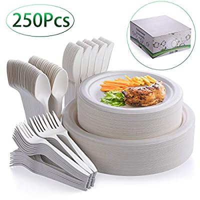 Fuyit 250Pcs Disposable Dinnerware Set, Compostable Sugarcane Cutlery Eco Friendly Tableware Includes 50 Biodegradable Paper Plates, Forks, Knives and Spoons for Party, Camping, Picnic, BBQ (White)