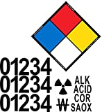 Outdoor/Indoor Custom NFPA Adhesive Vinyl Label Kit with Blank Placard, Numbers Digits & Hazard Symbols - 14' Tall Diamond (Point to Point) Black, Blue, Red, Yellow on White Glossy Vinyl