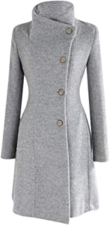 Womens Winter Lapel Fux Wool Coat Trench Jacket Long Sleeve Overcoat Outwear