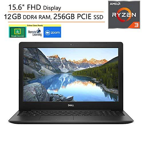 Dell Inspiron 15 3000 15.6' FHD Laptop Computer, AMD Ryzen 3 2200U (Beat i5-7200U), 12GB DDR4, 256GB PCIe SSD, Microphone, Webcam, Online Class Ready, Windows 10, iPuzzle 500GB External Hard Drive