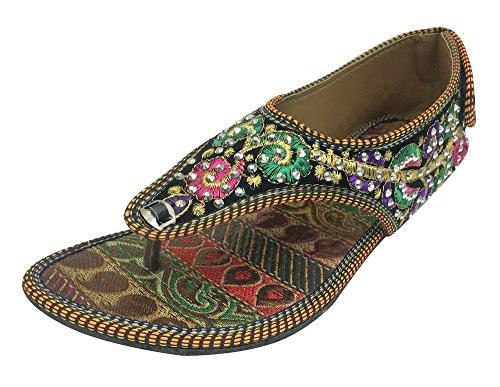 Step n Style, Sandali Etnici Piatti Infradito Slipon Fatti a Mano Mojari, Multicolore (Multicolore), 39 1/3 EU