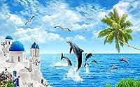 エーゲ海のイルカ-ポスターデカール 3D 壁画壁紙デザインのカスタムメイド壁画リビングルームホーム壁紙装飾-120X100cm (47X39inch)