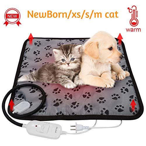 SyCreek Haustiere-Heizdecke für Katzen und Hunde, Pet Heizdecke mit einstellbaren Temperaturreglern, wasserdichte Heizmatte mit Anti-Bruch-Beißrohr und austauschbarer Filzhülle (45 * 45cm)