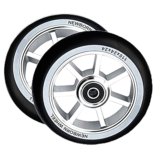 GAOJJ 2pcs 110mm Scooter Wheels, Pro Stunt Trick Scooter Replacement Wheels with ABEC-9 Bearing, 6061 Aluminum Inner Buckle + 88A High Elastic PU Tire