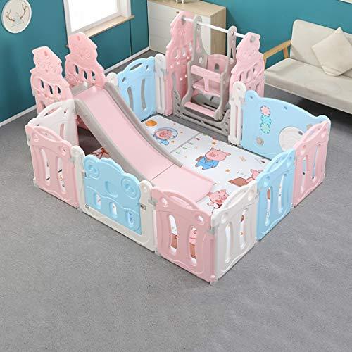 PNFP kinderspel hek, indoor outdoor met schommel en glijbaan babyplaypes peuters Activity Center veiligheid Playard