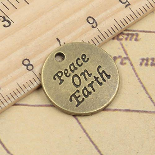 WANM 12Pcs Charms Peace On Earth 20X20Mm Tibetan Bronze Silver Color Pendants Antique Jewelry Making Diy Handmade Craft For Necklace