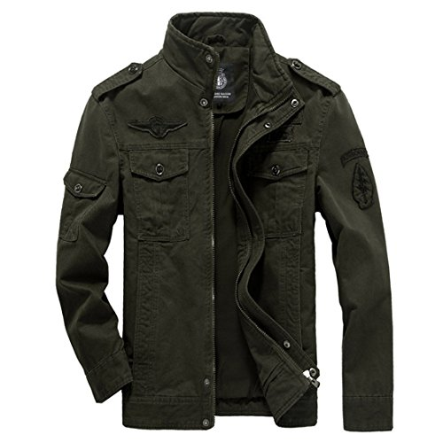 Merciy - Giacca casual da uomo in cotone Verde militare XL