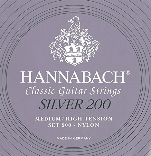 Hannabach 652659 – Cuerdas para guitarra clásica, serie 900P medium/high tension, carbon pack profesional silver 200-9007PCAR, set de 10