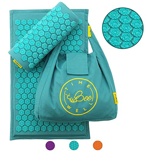 TimeBeeWell Eco-Friendly Acupressure Mat and Pillow Set - Back and Neck Pain Relief -Relieves Stress, Back, Neck, and Sciatic Pain Muscle Relaxant - Comes in a Carry Bag for Storage and Travel