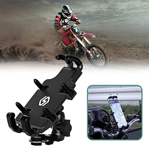 Soporte para teléfono móvil bicicleta universal, ajustable en 360 °, soporte para bicicleta al aire libre, soporte para bicicleta de motocicleta de aleación de aluminio antivibración para teléfono