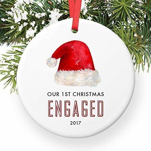 For367Walton Engaged Christmas Ornament 2017, Engagement Gift Santa Hat 1st Christmas Engaged Ceramic First Xmas Present for Couple Girlfriend Boyfriend Keepsake 3' Flat Porcelain