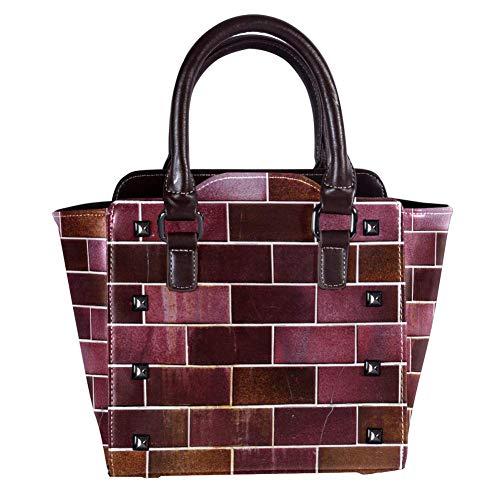 Nananma Handtasche mit Tragegriff für Damen, Leder, Umhängetasche, Schultertasche mit Fassade, Klinker, Fliesen-Hintergrunddruck, Umhängetasche, Kuriertasche, Hobo-Handtasche