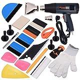 Ehdis 16 Tipos de Car Vinyl Wrap Tool Kit de Tinte de Ventana para Auto Tinting Set de Película Aplicación Instalación o Extracción con Pantalla LCD Heat Gun