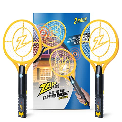 ZAP IT! Mini Bug Zapper - Electric Bug Zapper Racket - 4000 Volt - Rechargeable Via USB, Super-Bright LED Light to Zap in the Dark - Unique 3-Layer Safety Mesh That's Safe to Touch (Mini Twin)