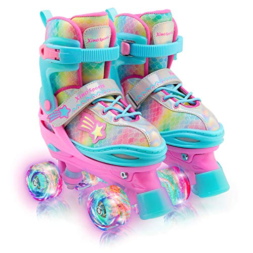 Xino Sports Kids Rainbow Roller Skates for Girls & Boys - Adjustable Rollerskates with LED Illuminating Light Up Wheels - Youth Roller Skates for Indoors & Outdoors