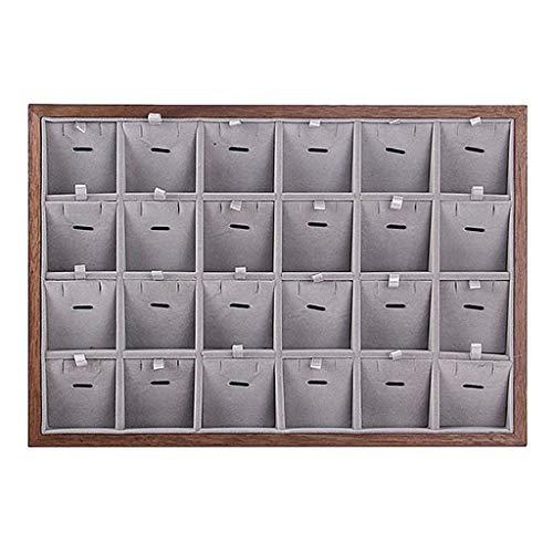 joyMerit Joyero de Madera Collar Pulseras Estuche Pendientes Anillos de Dedo Bandeja de Exhibición - 24 Rejillas
