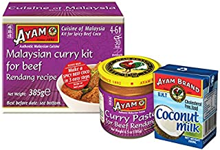 FREE PACK Ayam Brand Coconut Milk 200ml in Every Ayam Brand Malaysian Curry Kit for Beef Rendang 385g (Pack of 4)