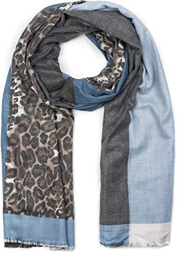styleBREAKER Damen Schal 3-farbig mit Leo Muster, Winter, Stola, Tuch 01017101, Farbe:Blau-Grau-Weiß