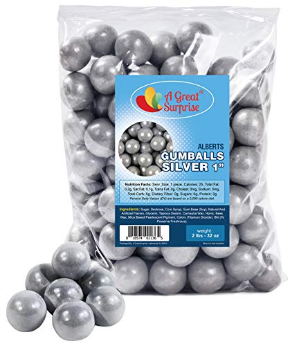 Gumballs in Bulk – Silver Candy – Silver Gumballs for Candy Buffet – Shimmer Gumballs – Gumballs 1 Inch – Bulk Candy 2 LB Bag