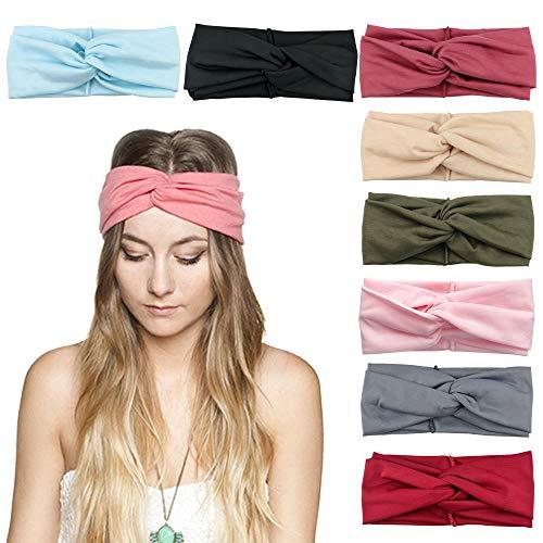 DRESHOW 8 Stück Damen Turban Stirnbänder Headwraps Haarbänder Bögen Haarband Zubehör Stirnband für Frauen