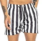 Redbridge Costume da Bagno da Uomo a Rapida Asciugatura Design Vertical Stripes Nero-Bianco S