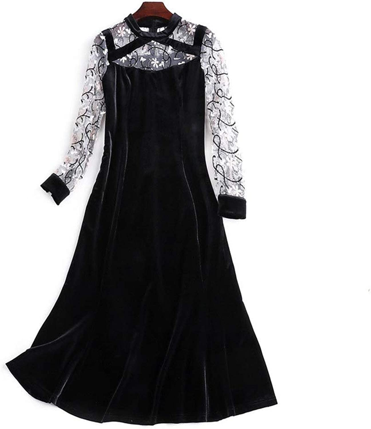 Women Ladies Elegant Midi Dress Screw Neck Long Sleeve Embroidery Floral Sheer Mesh Patchwork Casual Formal Tunic Mermaid Dress Fit & Flare Dress (color   Black, Size   M)