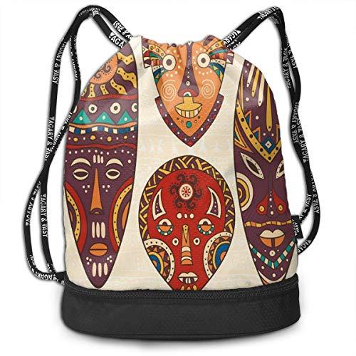 NA Tribal Afrikanisches Muster auf Ritual Masken Ethnic Zubehör Indigenous Kulturen Männer & Frauen Sportbeutel Kordelzug Rucksack Tasche