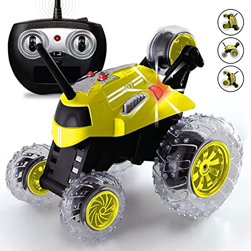 SHARPER IMAGE Thunder Tumbler Toy RC Car for Kids, Remote Control Monster Spinning Stunt Mini Truck for Girls and Boys, Racing Flips and Tricks with 5th Wheel, 49 MHz Yellow