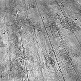 QPC Direct - Mantel de vinilo con efecto de madera rústica, impresión de PVC, color gris 140 x 200 cm gris