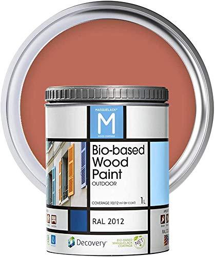 Pintura para Madera | Color Naranja | Bio-based Wood Paint RAL 2012 | 1 L | Para todo tipo de Madera | Pintura madera exterior con un aspecto de acabado semi mate cálido y sedoso