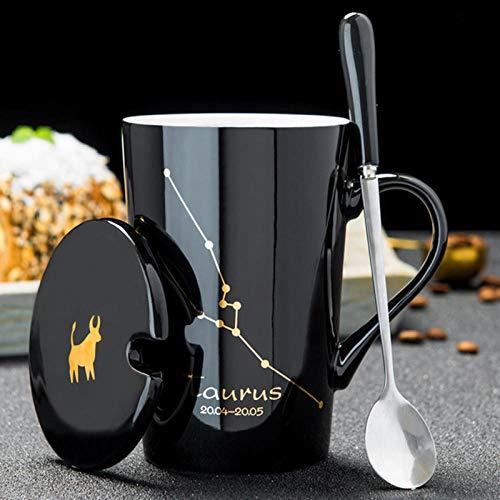 Tazas De Cerámica 420Ml 12 Constelaciones Tazas Creativas con Tapa De Cuchara Porcelana Negra Y Dorada Taza De Café con Leche del Zodiaco Drinkware-Taurus