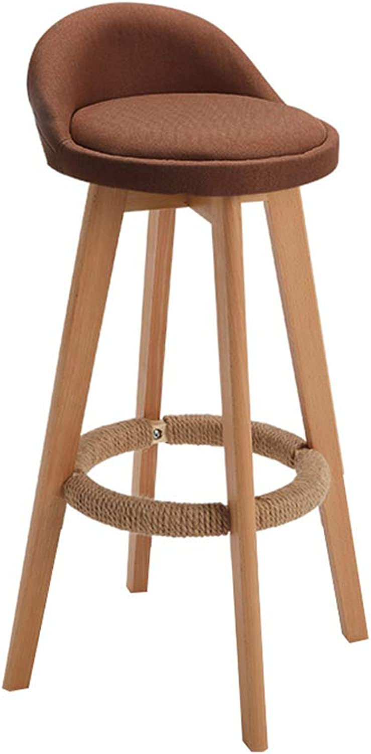 CYLQ Wooden redating Bar Stool, Bar Chair Kitchen Counter Height, Low Back Linen Swivel Seat, Modern Breakfast Table 90-110cm Bench, 4 colors, 3 Sizes (color   Brown, Size   68cm)