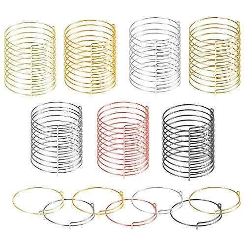Allazone 70 PCS Expandable Bangle Bracelet, 7 Colors Metal Adjustable Blank Bangle Bracelets, Adjustable Wire Blank Bracelet Expandable Bangle for DIY Jewelry Making
