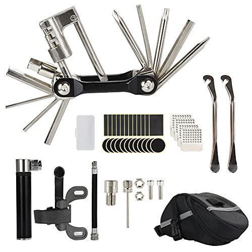 The7boX Juego de herramientas de reparación de bicicletas Juego de reparación de pinchazos, Reparación de herramientas múltiples para bicicletas Accesorios para bicicletas de montaña