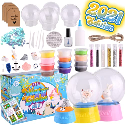 Motiveplay Snow Globe Crafts for Kids - Activities Gifts for Teen Girls Ages 4-8 4-6 6-8 Arts Stem Project Games Unicorn Toddler DIY Toys & Materials Stuff with Glitters Figurines Clays Water Globes