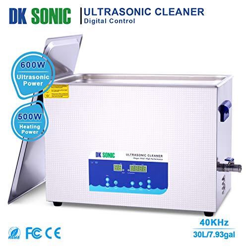 Large Digital Ultrasonic Cleaner - DK SONIC 30L Sonic Cleaner with Heater Basket Digital Timer for,Glasses,Coins,Metal Parts,Carburetor,Fuel Injector,Record,Circuit, Board,Brass etc(30L,220V)