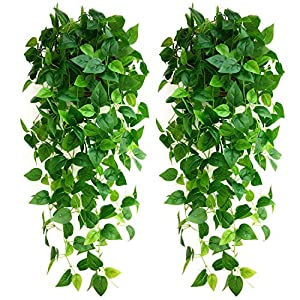 Guagb 2 Pack Artificial Fake Hanging Plants 3.6ft Faux Vine Leaves for Indoor Outdoor Wall Home Room Garden Wedding Garland Decoration