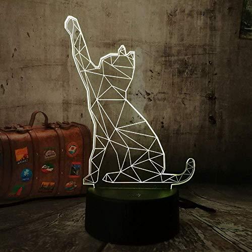 Lámpara de ilusión 3D con forma de gato y animal para niños, niñas, regalo, luz de noche 3D para dormitorio al lado de la mesa, lámpara de mesa de escritorio con 16 colores cambiantes, regalo par