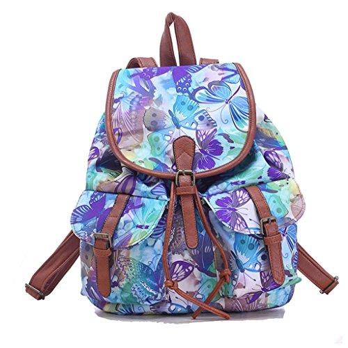 Sammua Mädchen Retro Flower Floral Rucksack Leinwand Umhängetasche Schul Bookbag mit Kordelzug Lederschnallen Lässige Daypack - Schmetterling