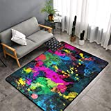 O-X_X-O Paint Splatter Dark Modern Casual Area Rugs for Living Room Bedroom Carpet Thick Soft Large Flannel Mats Easy to Clean Stain 60 X 39 Inch