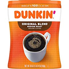 Contains 1 - 30 ounce canister of ground coffee. For a limited time, you may receive either canister while we update our packaging. Both contain the same great Dunkin' Coffee Original Blend is the coffee that made Dunkin' famous, featuring a rich, sm...