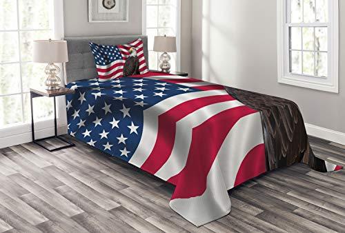 ABAKUHAUS Adler Tagesdecke Set, Patriotisches Symbol Amerika, Set mit Kissenbezug Mit Digitaldruck, für Einselbetten 170 x 220 cm, Mehrfarbig
